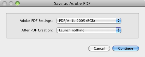 Macintosh PDF save dialog